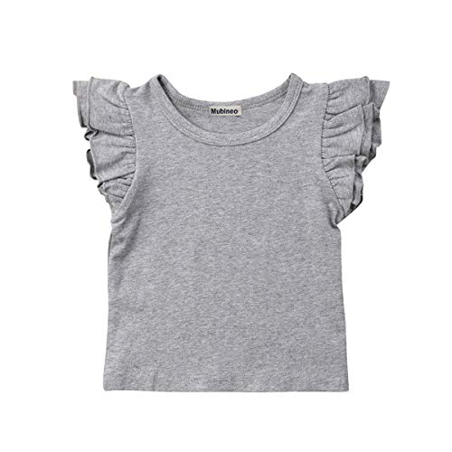 Mubineo Toddler Baby Girl Basic Plain Ruffle Sleeve Cotton T Shirts Tops Tee Clothes (Grey, 1-2T)