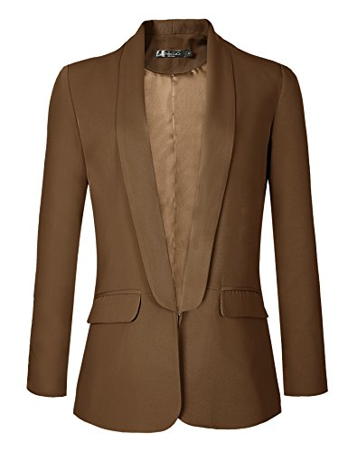 Urban CoCo Women's Office Blazer Jacket Open Front (2XL, Camel)