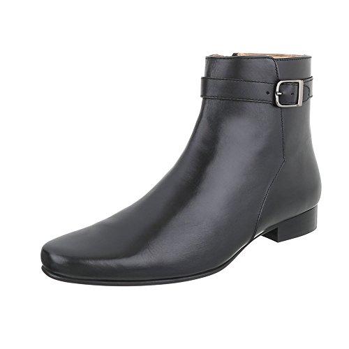 Stiefeletten Leder Herrenschuhe Chelsea Boots Blockabsatz Blockabsatz Reißverschluss Ital-Design Boots Schwarz