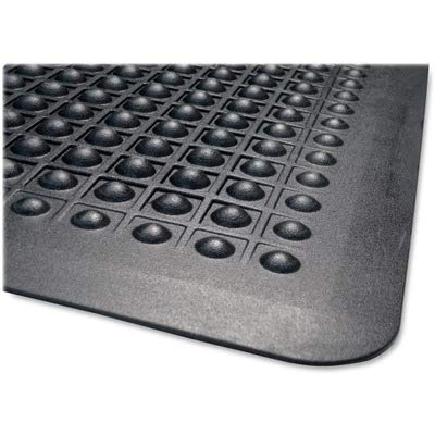 Genuine Joe Flex Step Anti-Fatigue Mat - 5' Length x 3' Width - Rubber - Black
