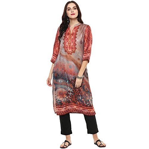 Lagi Kurtis Ethnic Women Kurta Kurti Tunic Printed Top Dress Casual Wear New Launch (Red)
