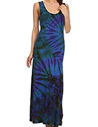 Sakkas Dee Scoop Neck Tie Dye Sleeveless Long Dress