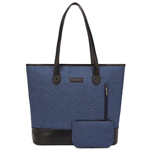 UtoteBag Women 15.6 Inch Laptop Tote Bag Notebook Shoulder Bag Lightweight Multi-pocket Nylon Briefcase Classic Casual Handbag(Blue)