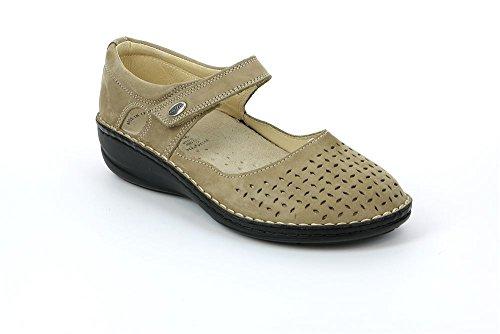 Grünland INES SC1400 mujer zapatos de color topo comodidad correa de desgarramiento de la bailarina BEIDGE