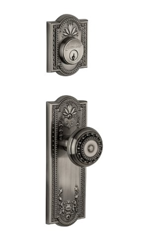 Grandeur Parthenon Plate with Parthenon Knob and Matching Deadbolt Complete Single Cylinder Combo Pack Set, Antique Pewter ()