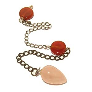 "Carnelian Pendulum 02 Pink Rose Quartz Orange Brass Reiki Dowsing Stone 9.8"" (Gift Box)"