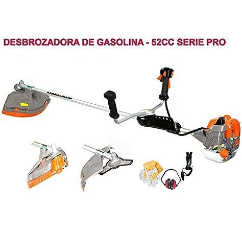 BRACOG HJD5200 Serie Pro Desbrozadora Motor de Gasolina, 2 Tiempos, Barra Partida con Disco 3 Puntas, Cabezal de Hilo, Disco de multipuntos, arnés, 52 CC: Amazon.es: Jardín