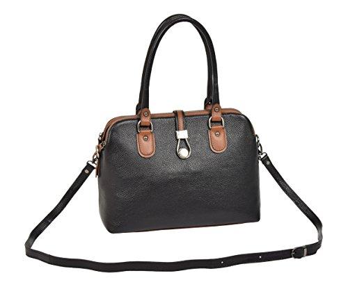 Leather Black Zip Work A288 Bag Dress Real Top Multi Handbag Designer Shoulder Womens O5w4fqEW
