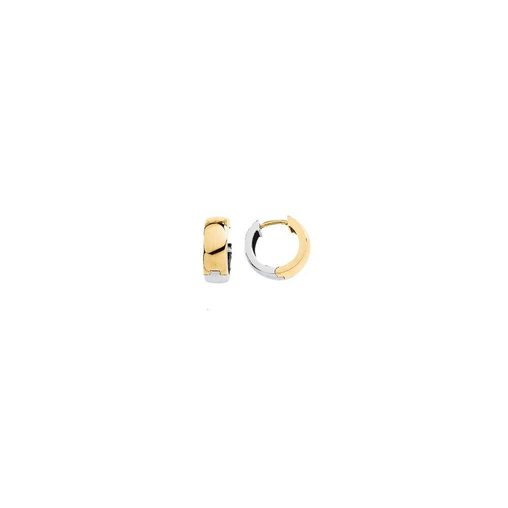 14K Yellow /& White 14mm Hinged Earrings