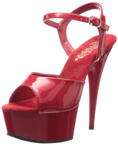 Pleaser Women's Delight-609 Ankle-Strap Sandal,Red Patent/Red,8 M US