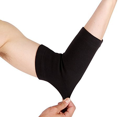 Arm & Elbow High Compression Sleeve: Self Warming Arthritis & Tendonitis Joint Pain Relief - Athletic Weight Lifting, Baseball, Basketball, Tennis & Golfers Brace: Black Men Women Youth (70's Workout Outfits)