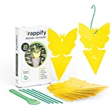 Trappify Sticky Fruit Fly and Gnat Trap Yellow Sticky Bug Traps for Indoor/Outdoor Use - Insect Catcher for White Flies, Mosquitos, Fungus Gnats, Flying Insects - Disposable Glue Trappers - 25 Pk