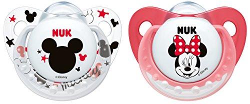 NUK 10175136 Disney Mickey Trendline Silikon-Schnuller (0-6 Monate, kiefergerecht, BPA frei, 2 Stück) weiß/rot