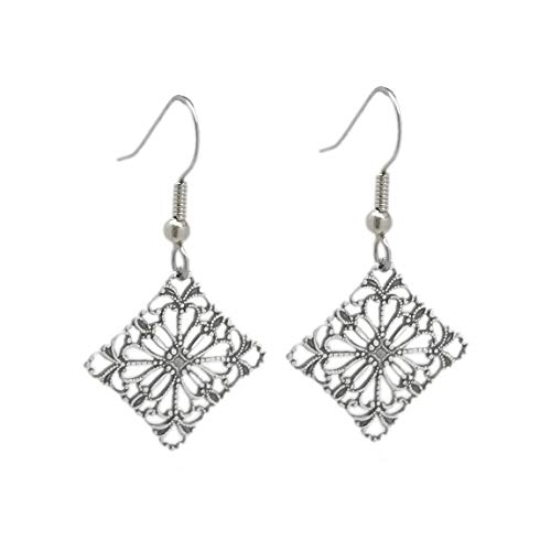 Silver Stainless Steel Diamond-Shaped Filigree Dangle Earrings for Sensitive Ears