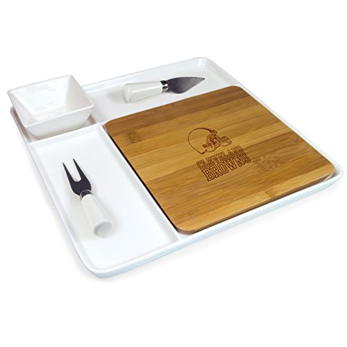 NFL Cleveland Browns Homegating Peninsula Serving Tray with Cutting Board and Cheese Tools