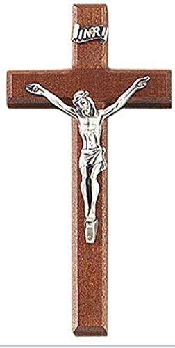 Antique Walnut Art (Beautiful 6.25 Inch Walnut Crucifix - 3' Antique Gold Finish Corpus Boxed)