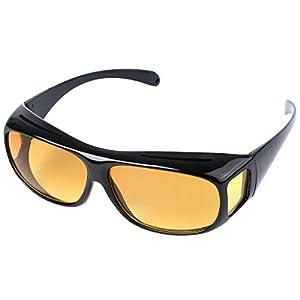 HD Night Vision Wraparounds Wrap Around Driving Glasses (Black, Yellow)