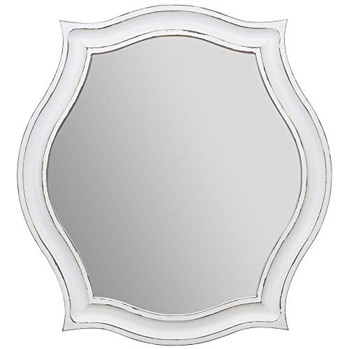 Everly Hart Collection Whitewash Scallop Framed Wall Mounted - Mirrors Weathered Bathroom Wood