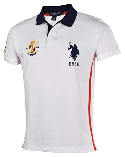U.S. Polo Assn. Men's Solid Slim Fit Polo with Side Stripe and Collar Stripes