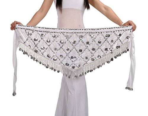 AvaCostume Belly Dance Hip Skirt Silver Coins Scarf Wrap Belt, white ()