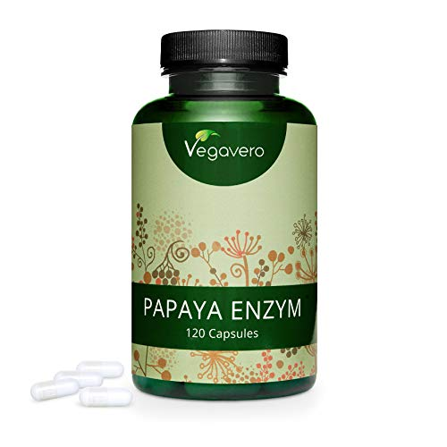 PAPAYA ENZYM Vegavero®   120 Kapseln   HOCHDOSIERT: 500 mg Papain pro Kapsel   PREIS-LEISTUNGS-SIEGER 2020*   Ohne Zusatzstoffe   Laborgeprüft   Vegan