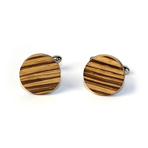 Hand Made Wooden Cuff Links - MADE IN THE USA - variety of colors (Zebrawood) ()