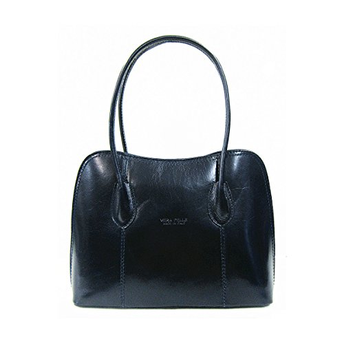 Classic Bag or Style Italian Navy Grab Shoulder Smooth Shiny Bag Tote Leather fgtWxH7wq