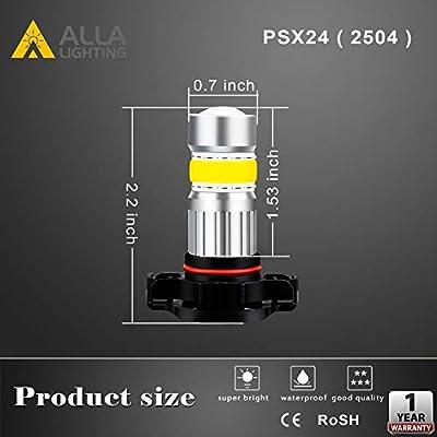 Alla Lighting 2800lm PSX24W 2504 LED Lights Bulbs 3000K Amber Yellow Xtreme Super Bright COB-72 12V Car Fog Light Replacement 122766: Automotive