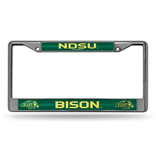 Rico NCAA North Dakota State Bison Bling Chrome License Plate Frame with Glitter Accent ()