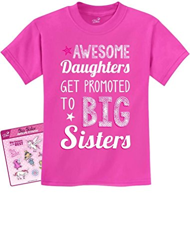 Awesome Daughters Get Promoted to Big Sisters Gift Idea Kids T-Shirt + Stickers