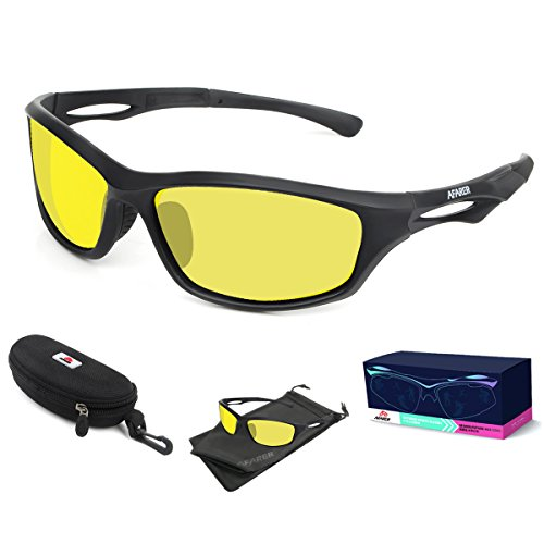 AFARER Polarized Sport Sunglasses for men women Outdoor Driving Fishing Cycling Running Golf with 5 TR90 Unbreakable Frame Black - And Oakleys Yellow Black