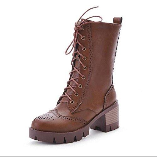 botas de invierno frontal encaje grueso - botas de tacón corto tubo Martin yellow