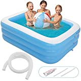 Minterest Swimming Pool, 77 x 56inch Inflatable Kiddie Pools Family Outdoor Backyard Summer Water Play Swim Center for 1-4 Adults Kids Children Ages 3+