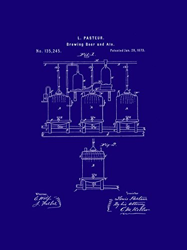 Framable Patent Art the Original Ready to Frame Décor Vintage Beer Brewing Ale 8in by 10in Patent Art Poster Print PAPXSSP118MB, Dark Blue Dark Ale Frame