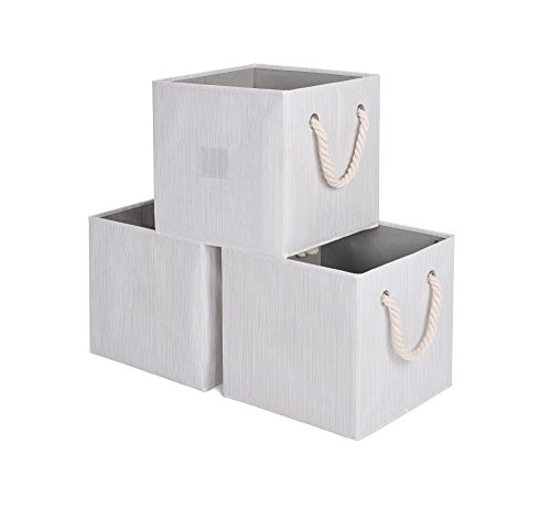 StorageWorks Foldable Basket Cubes with Strong Cotton Rope Handle, Sturdy Stackable Storage Cube Box Bins With 25lbs, Beige, Bamboo Style, Large, 7 gal, 3-Pack by StorageWorks