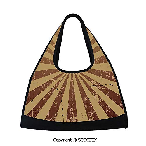 Short distance travel bag,Sunburst Pattern Aged Rusty Jagged Grungy Retro Style Rays Old Worn Composition,Multi Functional Bag (18.5x6.7x20 in) Brown Light Brown ()