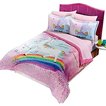 super soft cute fun and whimsical mainstays kids rainbow unicorn with images of. Black Bedroom Furniture Sets. Home Design Ideas