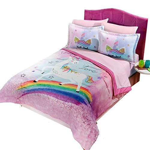 JORGE'S HOME FASHION INC LIMITED EDITION UNICORN AND RAINBOW TEENS GIRLS REVERSIBLE COMFORTER SET 3 PCS FULL SIZE