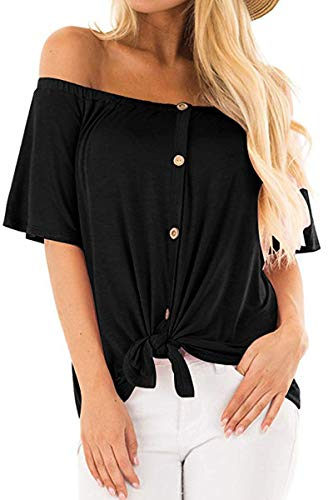(QINSEN Womens Solid Off Shoulder Bell Sleeve Tee Shirt Button Up Tie Knot Summer Blouses Tops Black)