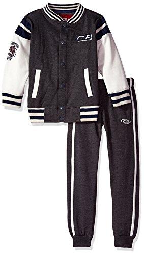 CB Sports Little Boys' 2 Piece Jog Set (More Styles Available), Dark Heather Gray, 7