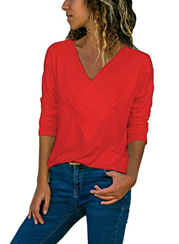 Tiksawon Women's Long Sleeve Solid Color V Neck Shirts Wrap Front Drape Tops Stretchy Casual Blouses Red (Cotton Ruffle Wrap Top)