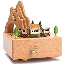 cheerfullus Wooden Music Box Small Train Toy Decoration Birthday Present Christmas Gift for Kids