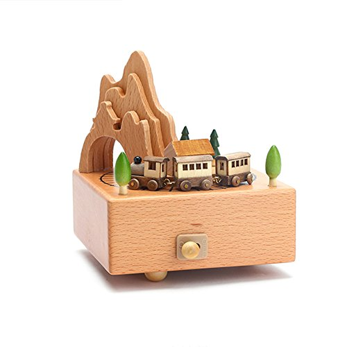 Wooden Classical Music Box Toys Dancing & Rotating Mechanical Craft, Christmas Brithday Gift for Kids Home Bedroom Decal (Train)