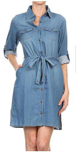 Buy belted button down dress - 7