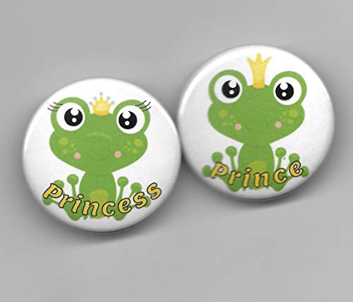 Prince Princess Green Frogs Boy Girl Gender Reveal,Baby Shower Party Favor, Pin Back Buttons, Round, Pinback, 1-1/2