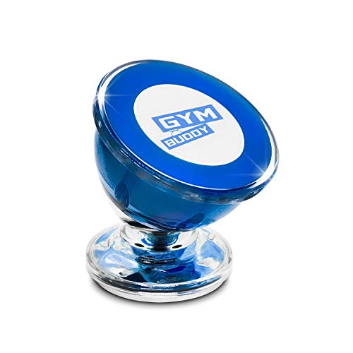 Cars Blue Buddies (Magnetic Phone Holder by Gym Buddy - Stick-on-Metal Cell Phone Mount - Fits Any Smartphone - 360-Degree Rotation, Strong Magnet - Ideal for Selfie Video & Self Recording in Gym, Home, Office (Blue))