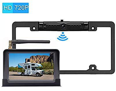 iStrong Digital Wireless Backup Camera System Kit for Car/Truck/Van/Pickup/Camper 4.3'' Monitor Rear/Front View Reverse/Continuous Use Guide Lines ON/Off Over 600ft Transmission by iStrong