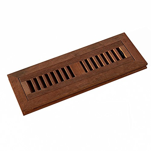 WELLAND 2 Inch x 12 Inch Brazilian Cherry Hardwood Vent Floor Register Flush Mount Unfinished