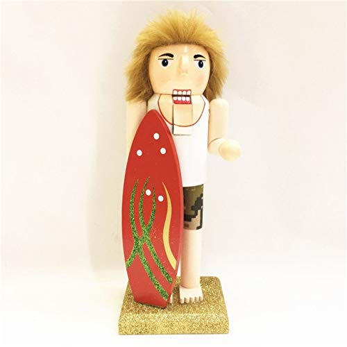 (ZAMTAC New 25Cm High Christmas Holiday Nutcracker Skier Surfers Vintage German Wooden Table Walnut Toy Zakka Dolls - (Color: Surfers))