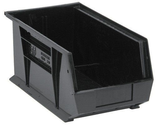 Quantum QUS240 Plastic Storage Stacking Ultra Bin, 14-Inch by 8-Inch by 7-Inch, Black Conductive, Case of 12